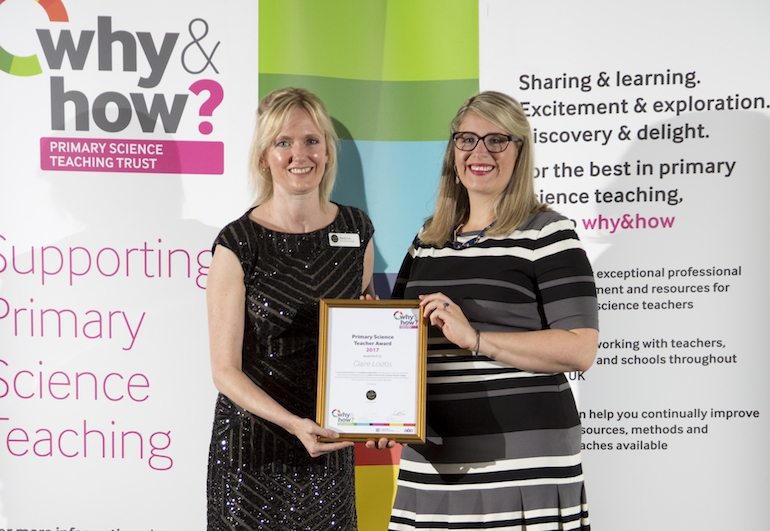 Claire (right) with Wendy Cox at the Primary Science Teacher Awards 2018