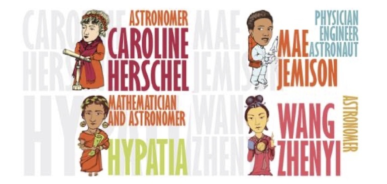 An image showing a cartoon representation of some of the STEM Sisters -Caroline Herschel, Mae Jemison, Hypatia and Wang Zhenyi