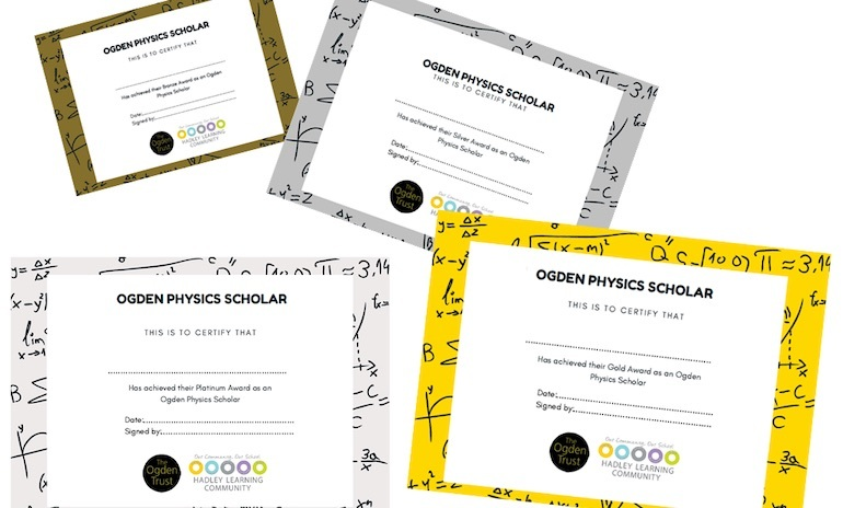 A image of the certificates awarded to scholars