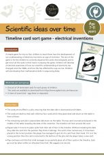 Scientific ideas over time: timeline card sort game electrical inventions