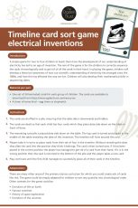 Timeline card sort game: electrical inventions
