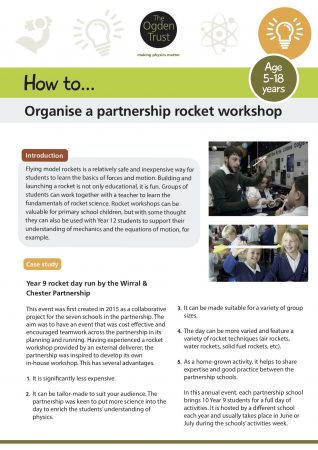 How to organise a rocket workshop