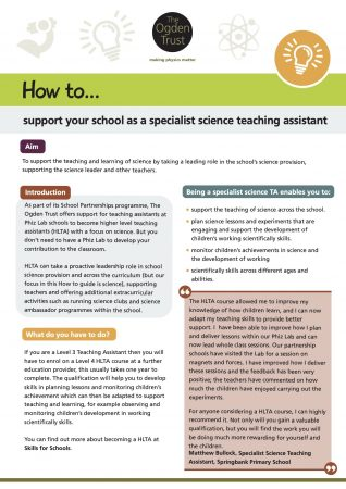 How to support your school as a specialist science teaching assistant