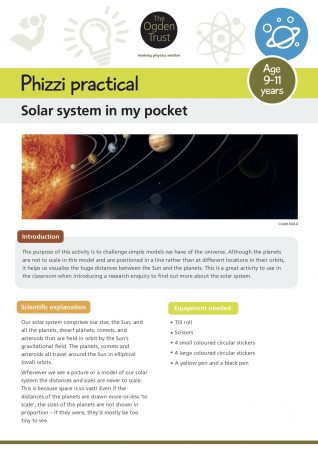 Phizzi practical: solar system in my pocket