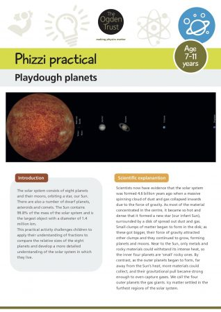 Phizzi practical: playdough planets