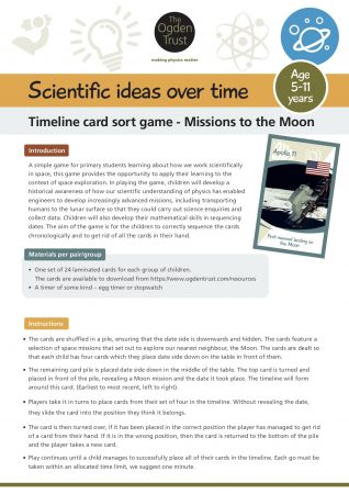 Scientific ideas over time: timeline card sort game Moon landings