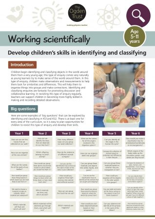 Working scientifically: identifying and classifying